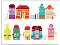 Glasunterlage Bunte Häuser in einer Stadt - Comic Stil – Bild 1