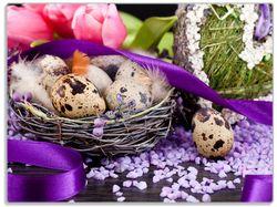 Glasunterlage Ostern - Stillleben II - Bunte Eier, Herzen und Tulpen – Bild 1