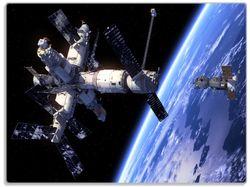 Glasunterlage Raumfahrt - Raumstation und Raumschiff im Weltall – Bild 1