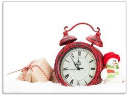 Glasunterlage Wecker mit Schneemann und Geschenken – Bild 1
