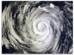 Glasunterlage Hurrikan von oben - Spiralförmiger Wirbelsturm – Bild 1
