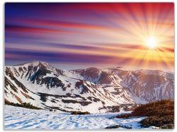 Glasunterlage Farbenfroher Sonnenuntergang im Winter - Schnee in den Bergen – Bild 1