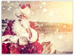 Glasunterlage Christmas-Party - Weihnachtsmann mit Schnaps und Zigarre  – Bild 1