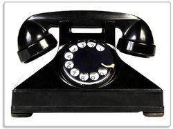 Glasunterlage Altes schwarzes Retro-Telefon mit Wählscheibe frontal – Bild 1