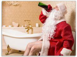 Glasunterlage Betrunkener Weihnachtsmann mit Weinflasche auf dem Klo – Bild 1