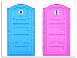Glasunterlage Klo-Häuschen blau und pink Herren und Damen nebeneinander – Bild 1