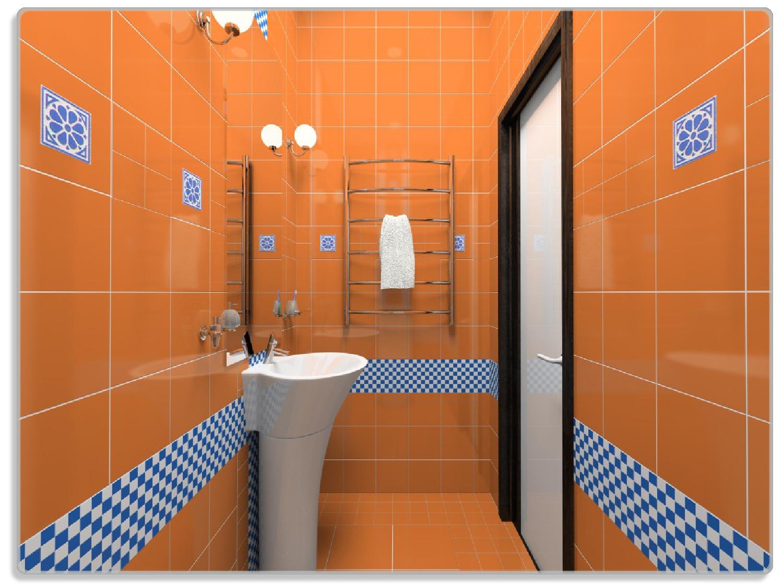Glasunterlage Modernes Badezimmer In Orange Mit Blauen Fliesen 30 X 40 Cm Wallario De