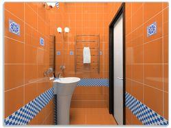 Glasunterlage Modernes Badezimmer in orange mit blauen Fliesen – Bild 1