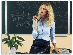 Glasunterlage Sexy blonde Lehrerin in Schule vor Tafel mit langen Beinen und Brille – Bild 1