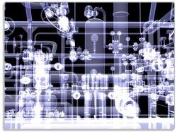 Glasunterlage Transparente Maschine unter Röntgen mit Zahnrädern und Rohren – Bild 1
