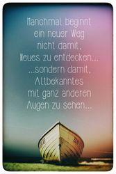 Poster Das Boot am Meer - Machmal beginnt ein neuer Weg ...
