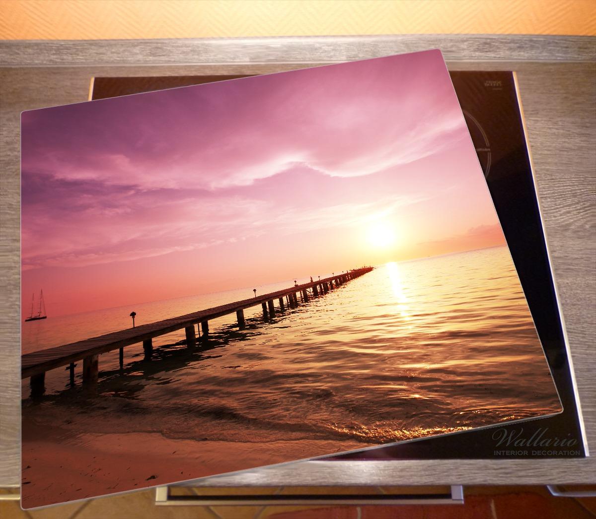 Herdabdeckplatte Auf dem Weg zur Sonne  Steg am Meer – Bild 2