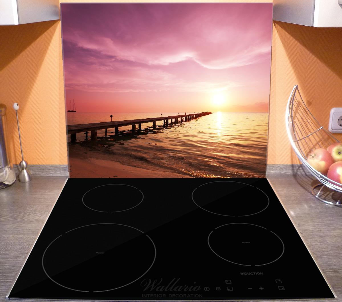 Herdabdeckplatte Auf dem Weg zur Sonne  Steg am Meer – Bild 3