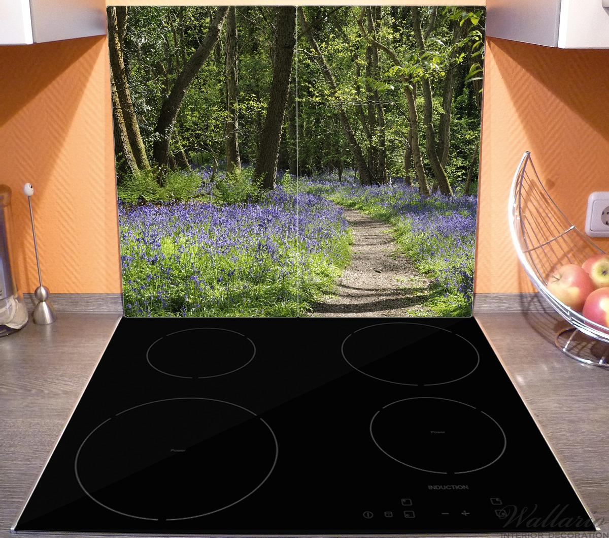 Herdabdeckplatte Wiese voller blauer Hasenglöckchen im Wald – Bild 3