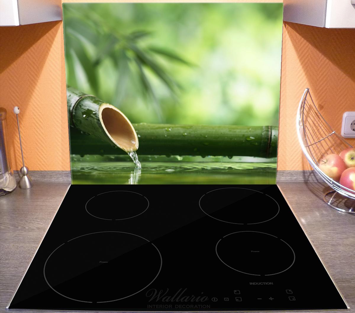 Herdabdeckplatte Bambusquelle  Bambusrohr mit Wasser – Bild 3