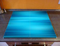 Herdabdeckplatte Blau und schwarz gestreift - Abstraktes Streifenmuster – Bild 2