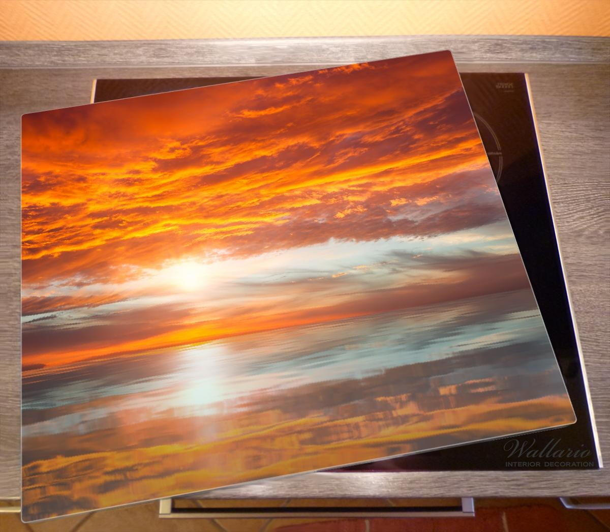 Herdabdeckplatte Abendrot in Reflexion über dem See – Bild 2