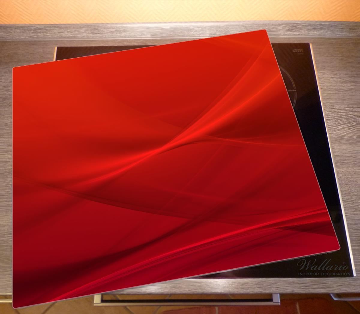 Herdabdeckplatte Abstrakte rotes Muster - roter Stoff – Bild 2