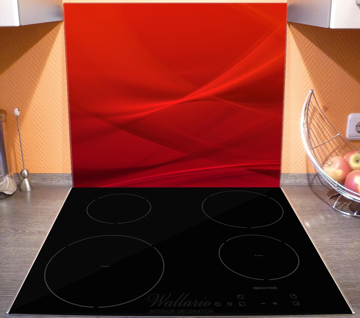 Herdabdeckplatte Abstrakte rotes Muster - roter Stoff – Bild 3