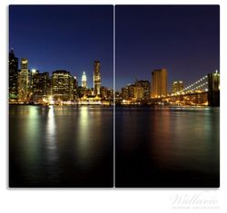 Herdabdeckplatte New York Skyline - Brooklyn Bridge und Manhattan am Abend – Bild 1