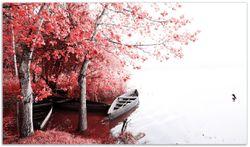Herdabdeckplatte Romantische Bootsanlegestelle in rot-weiß – Bild 1
