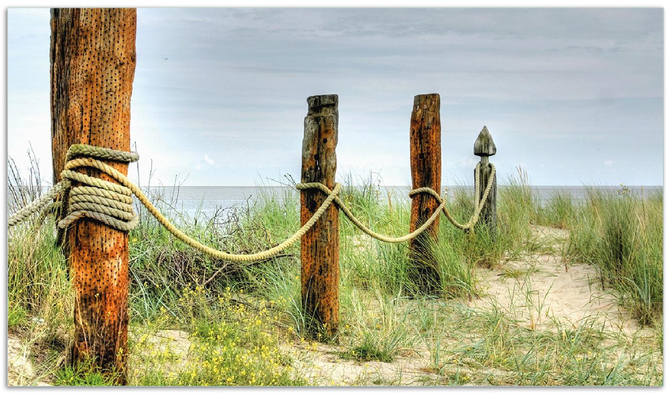 Herdabdeckplatte Düne am Strand mit Holzpfahl – Bild 1
