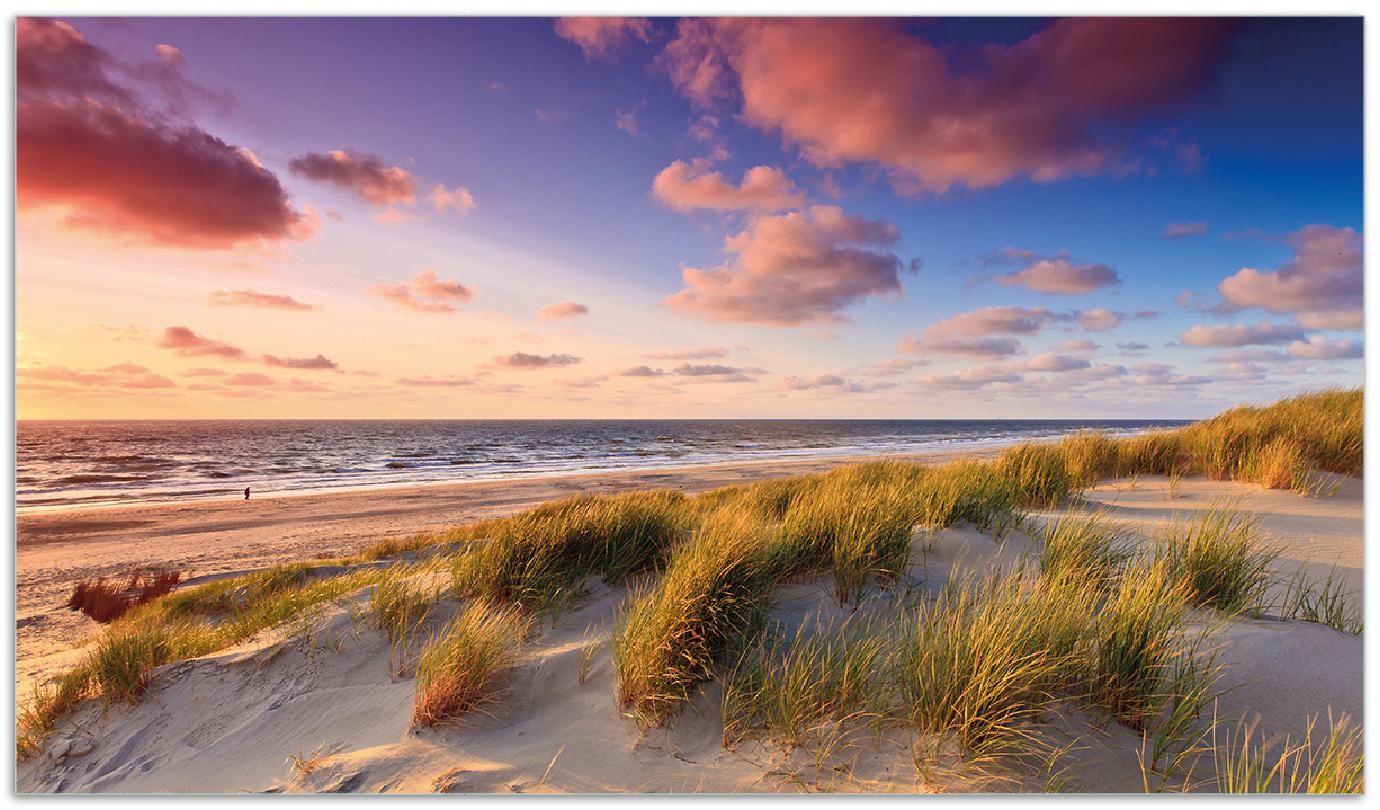 Herdabdeckplatte Abendspaziergang am Strand - Sonnenuntergang über dem Meer – Bild 1