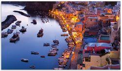 Herdabdeckplatte Hafen bei Nacht - Italien hell erleuchtet – Bild 1