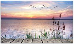 Herdabdeckplatte Seepanorama mit Schilf und fliegenden Vögeln – Bild 1