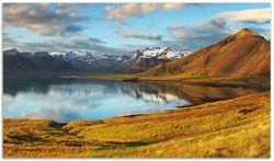 Herdabdeckplatte Bergpanorama mit Spiegelung im See – Bild 1