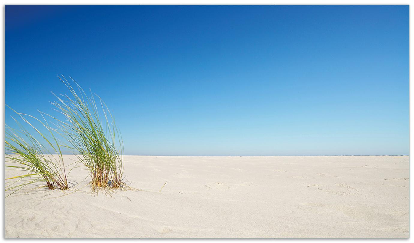 Herdabdeckplatte Sandstrand unter blauem Himmel – Bild 1