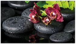 Herdabdeckplatte Dunkelrote Orchideen-Blüte auf schwarzen Steinen mit Regentropfen – Bild 1