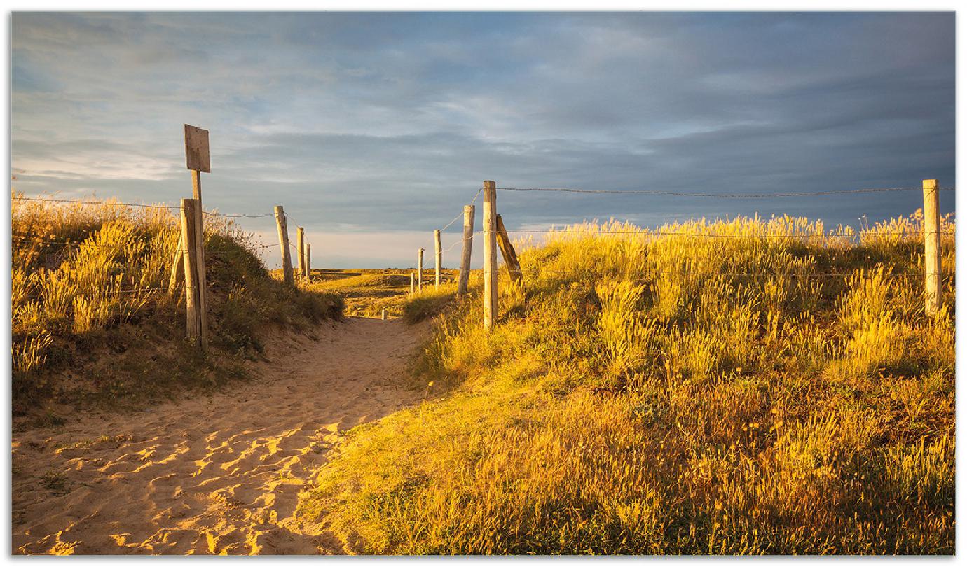 Herdabdeckplatte Düne am Strand bei Sonnenuntergang in Frankreich – Bild 1