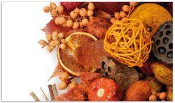Herdabdeckplatte Herbststimmung - Trockenfrüchte, Nüsse und Samen - Herbstdeko – Bild 1
