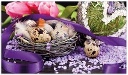 Herdabdeckplatte Ostern - Stillleben II - Bunte Eier, Herzen und Tulpen – Bild 1