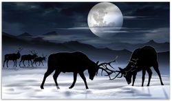Herdabdeckplatte Elch im Schnee bei Mondschein - Silhouette am Abend – Bild 1