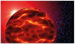 Herdabdeckplatte Abstrakter Planet im Weltall in glühendem rot – Bild 1