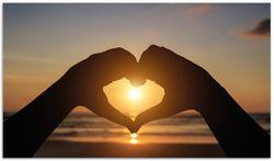 Herdabdeckplatte Liebe im Herzen der Sonne - Strand und Meer – Bild 1