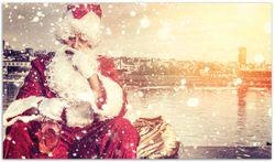 Herdabdeckplatte Christmas-Party - Weihnachtsmann mit Schnaps und Zigarre  – Bild 1