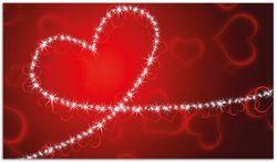 Herdabdeckplatte Leuchtendes Herz aus Sternen vor rotem Hintergrund – Bild 1