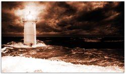 Herdabdeckplatte Abstrakter Leuchtturm im Wasser bei stürmischer See – Bild 1