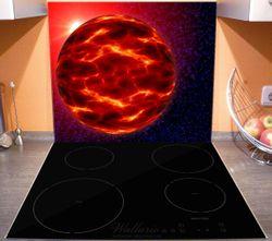 Herdabdeckplatte Abstrakter Planet im Weltall in glühendem rot – Bild 3