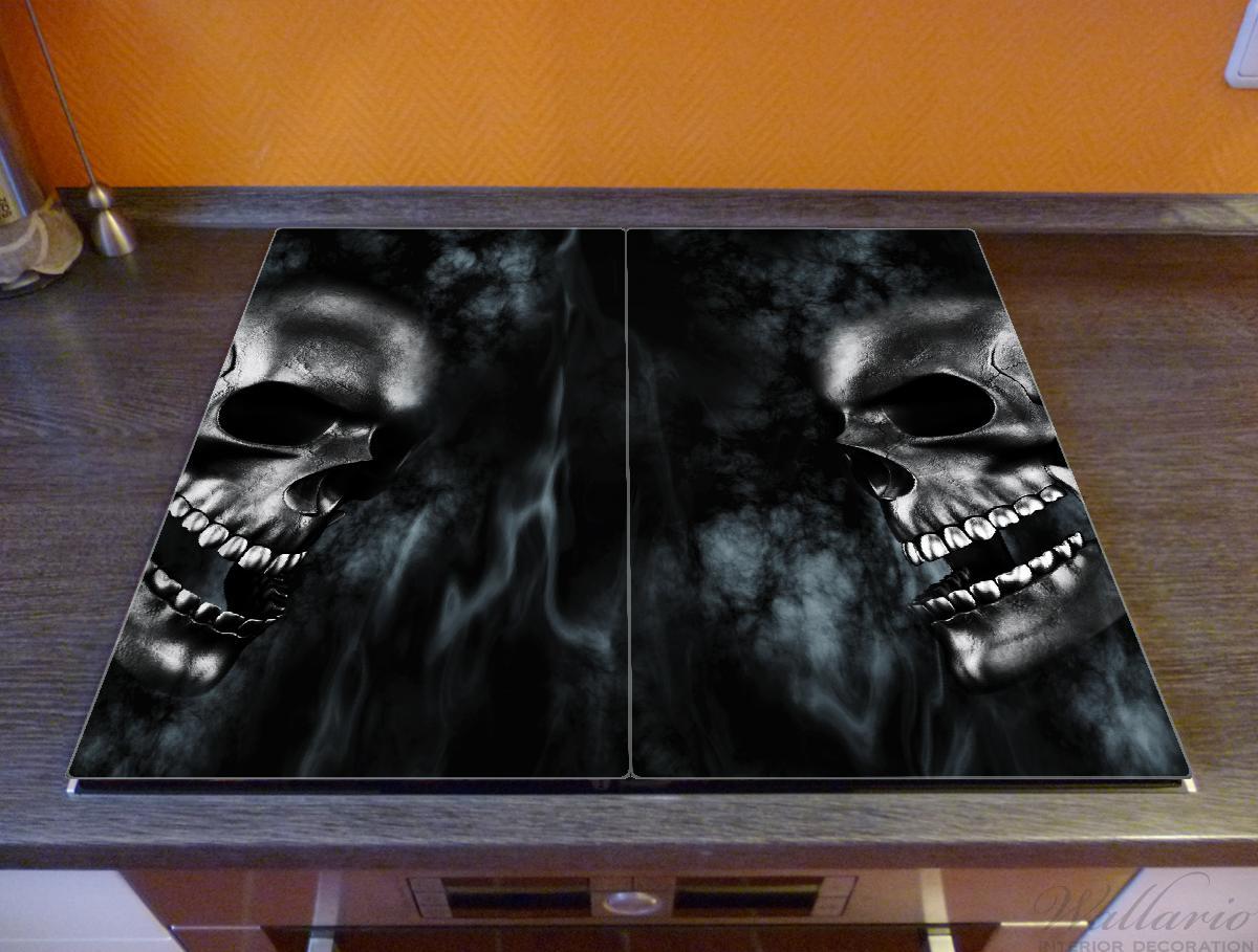 Herdabdeckplatte Rauchende Schädel – Bild 2