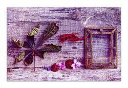 Herdabdeckplatte Getrocknete Blätter - Herbst Stillleben in lila – Bild 1