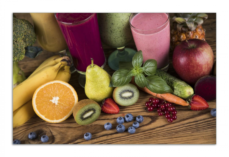 Herdabdeckplatte Bunte Smoothies mit Obst in der Küche – Bild 1