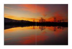 Herdabdeckplatte Abendrot am Himmel über einem See – Bild 1