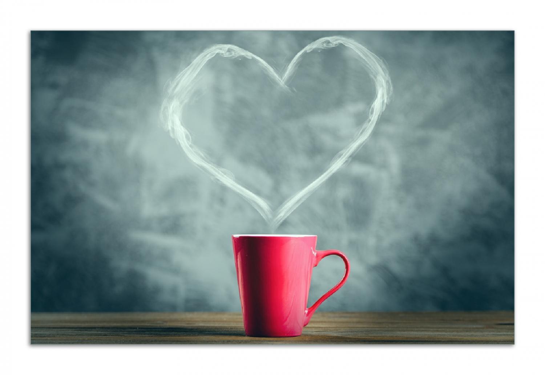 Herdabdeckplatte Tasse mit Kaffee - herzförmiger Dampf – Bild 1