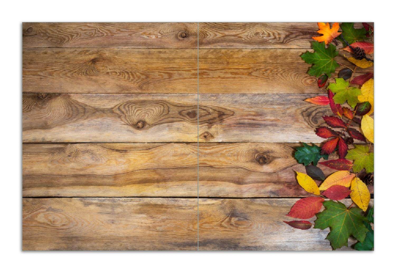 Herdabdeckplatte Herbstlaub auf Holzbrettern – Bild 1