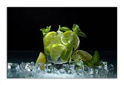Herdabdeckplatte Mojito - Cocktail mit Limetten, Eis und Minze – Bild 1