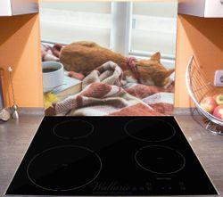 Herdabdeckplatte Schlafende Katze beim Kaffeekränzchen – Bild 3